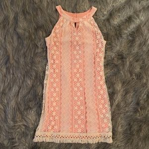 Pink and White Lace Dress